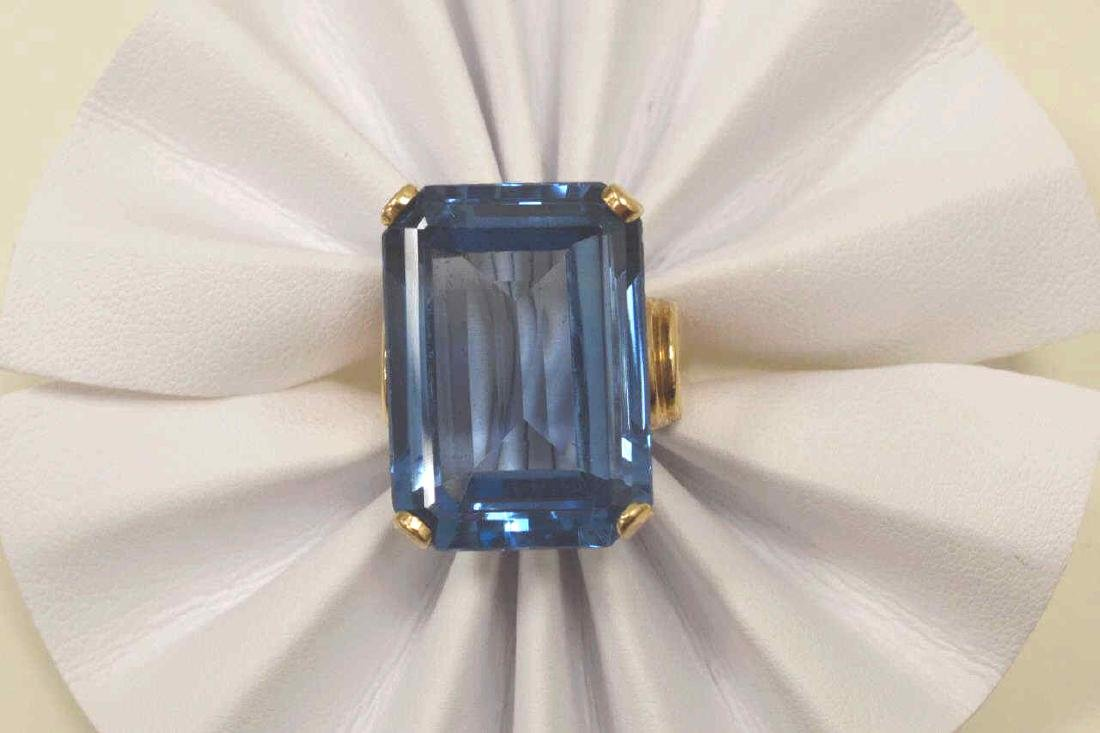 14kt yellow gold Syn. Blue Spinel ring - 5
