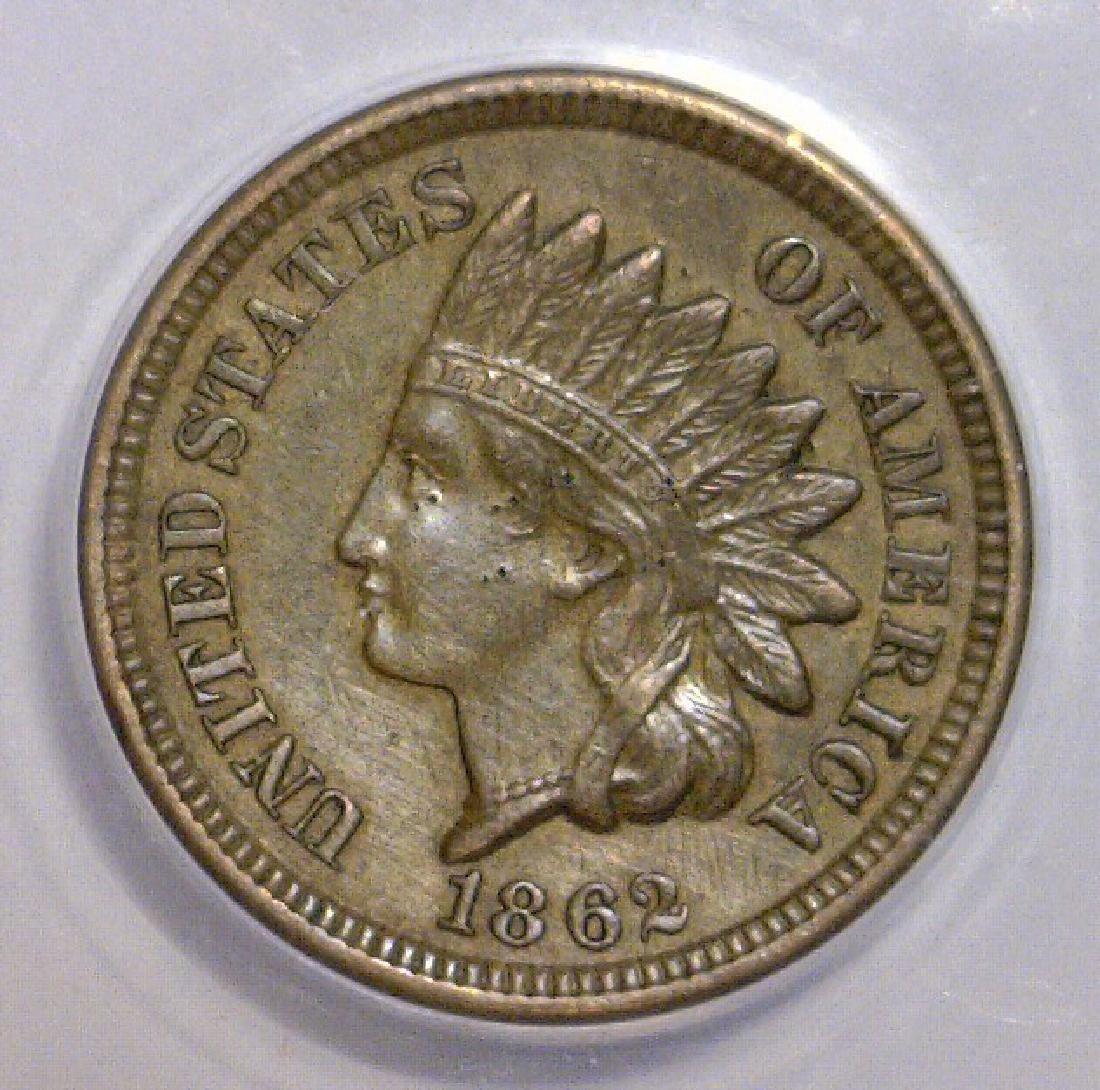 1862 Indian Head Cent ANACS AU58 Details