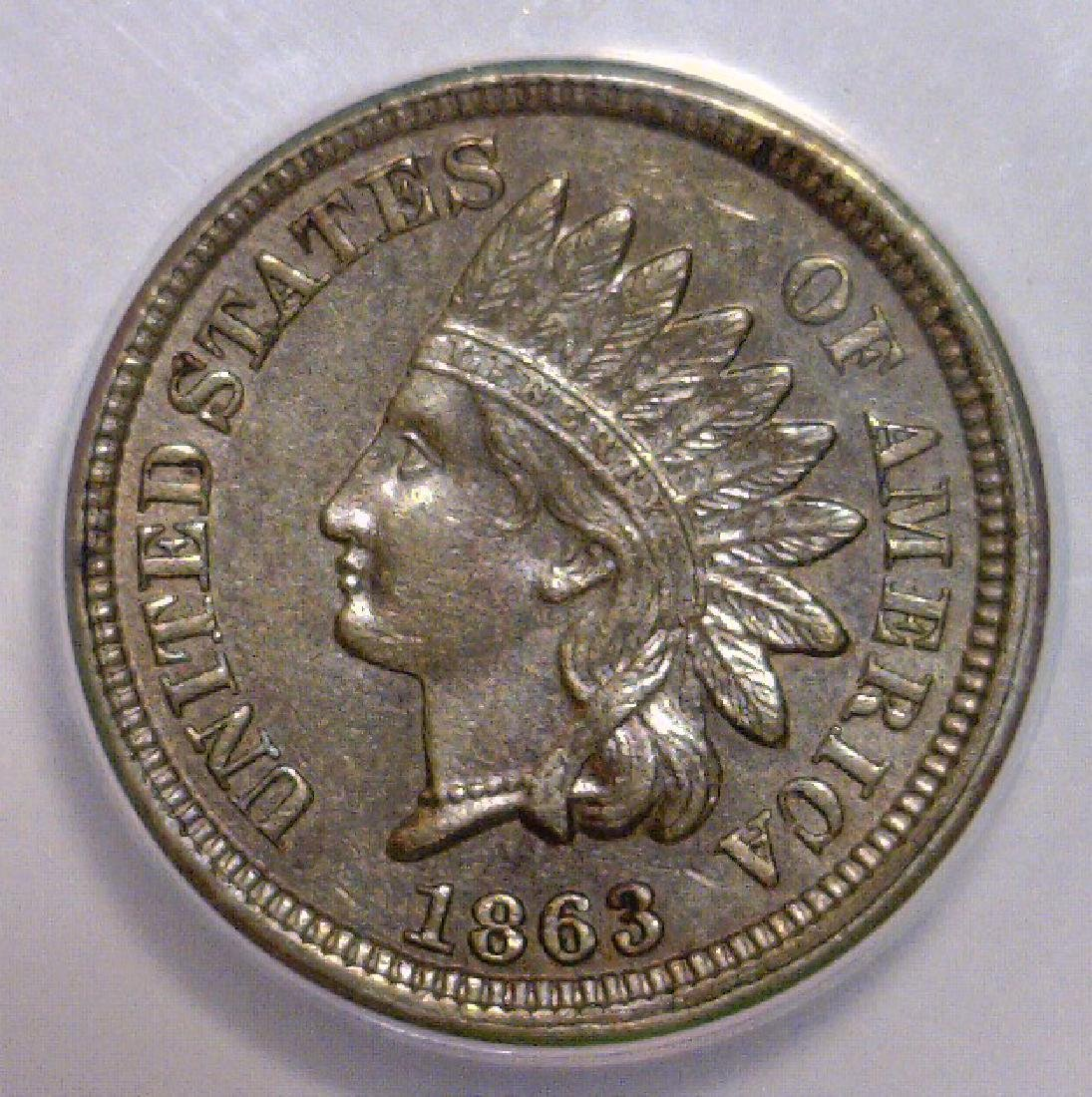 1863 Indian Head Cent ANACS Choice AU AU58