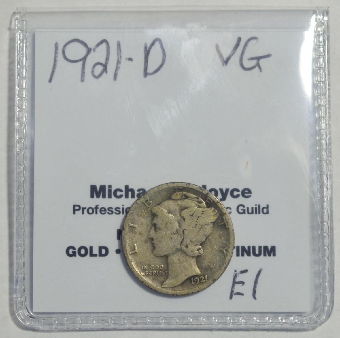 1921-D Mercury Dime VG - 2