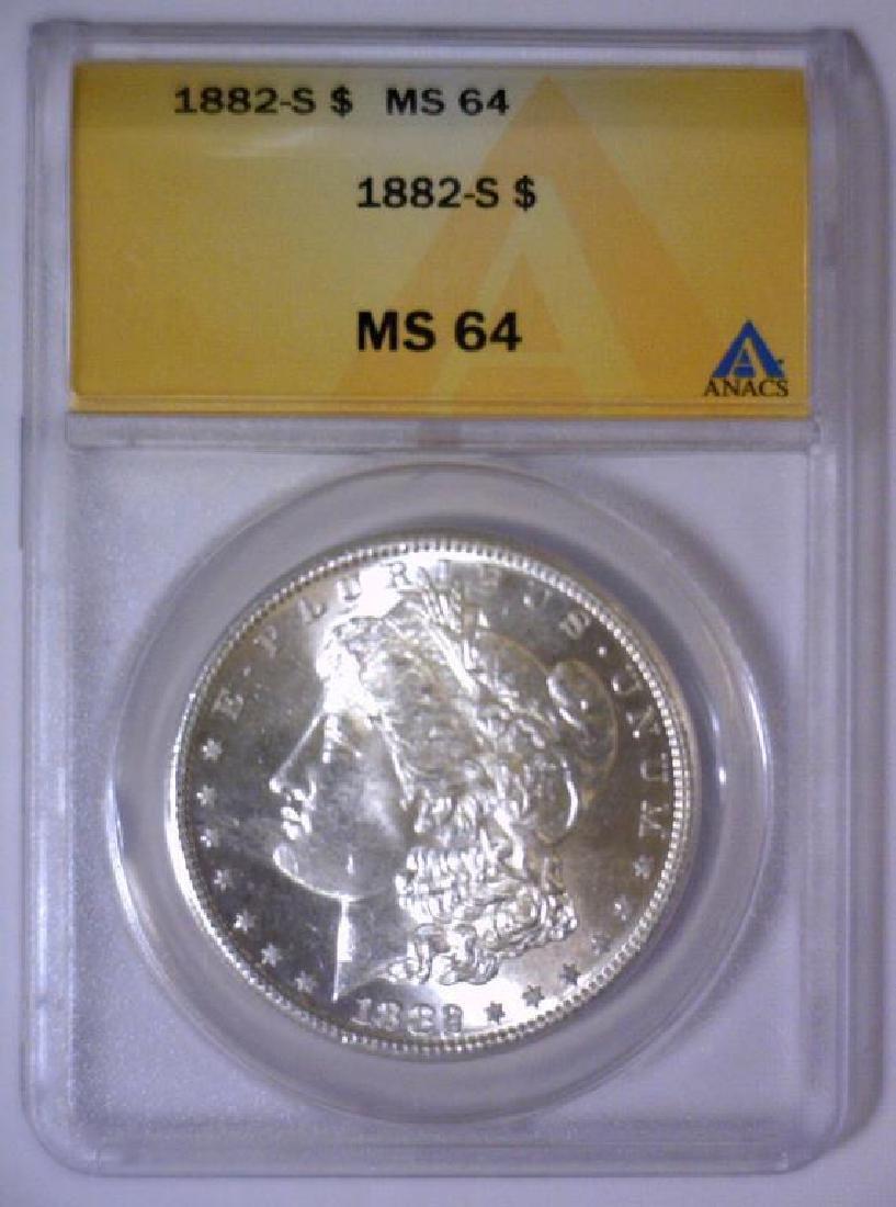 1882-S Morgan Silver Dollar ANACS MS64 - 2
