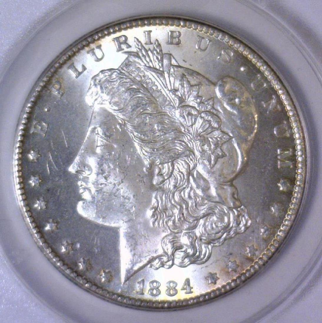 1884-CC Morgan Silver Dollar ANACS MS63