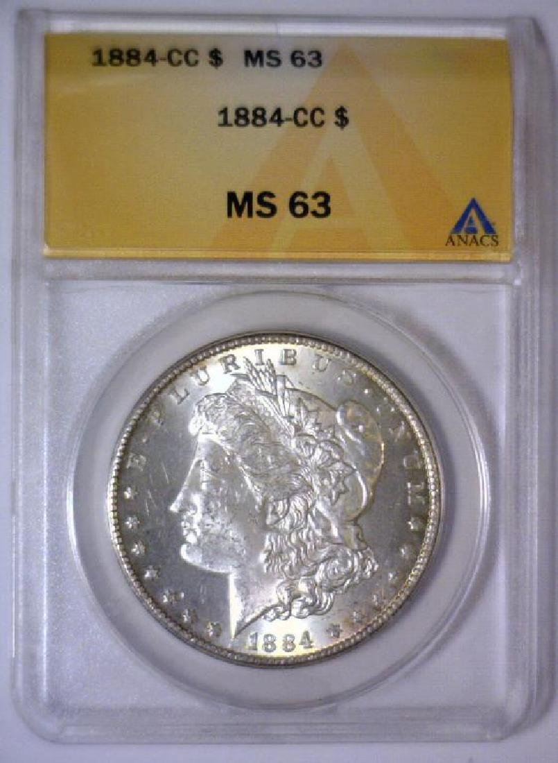 1884-CC Morgan Silver Dollar ANACS MS63 - 2