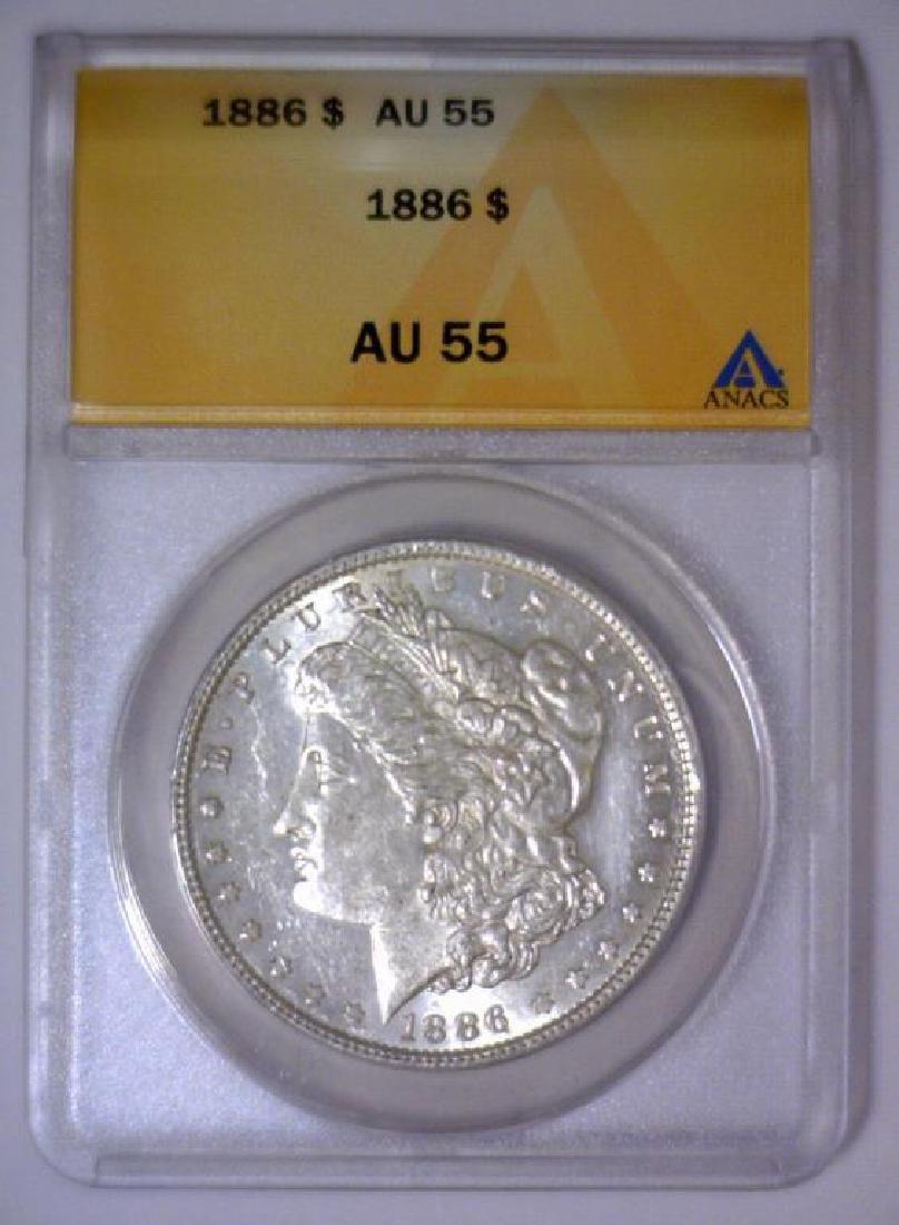 1886 Morgan Silver Dollar ANACS AU55 - 2