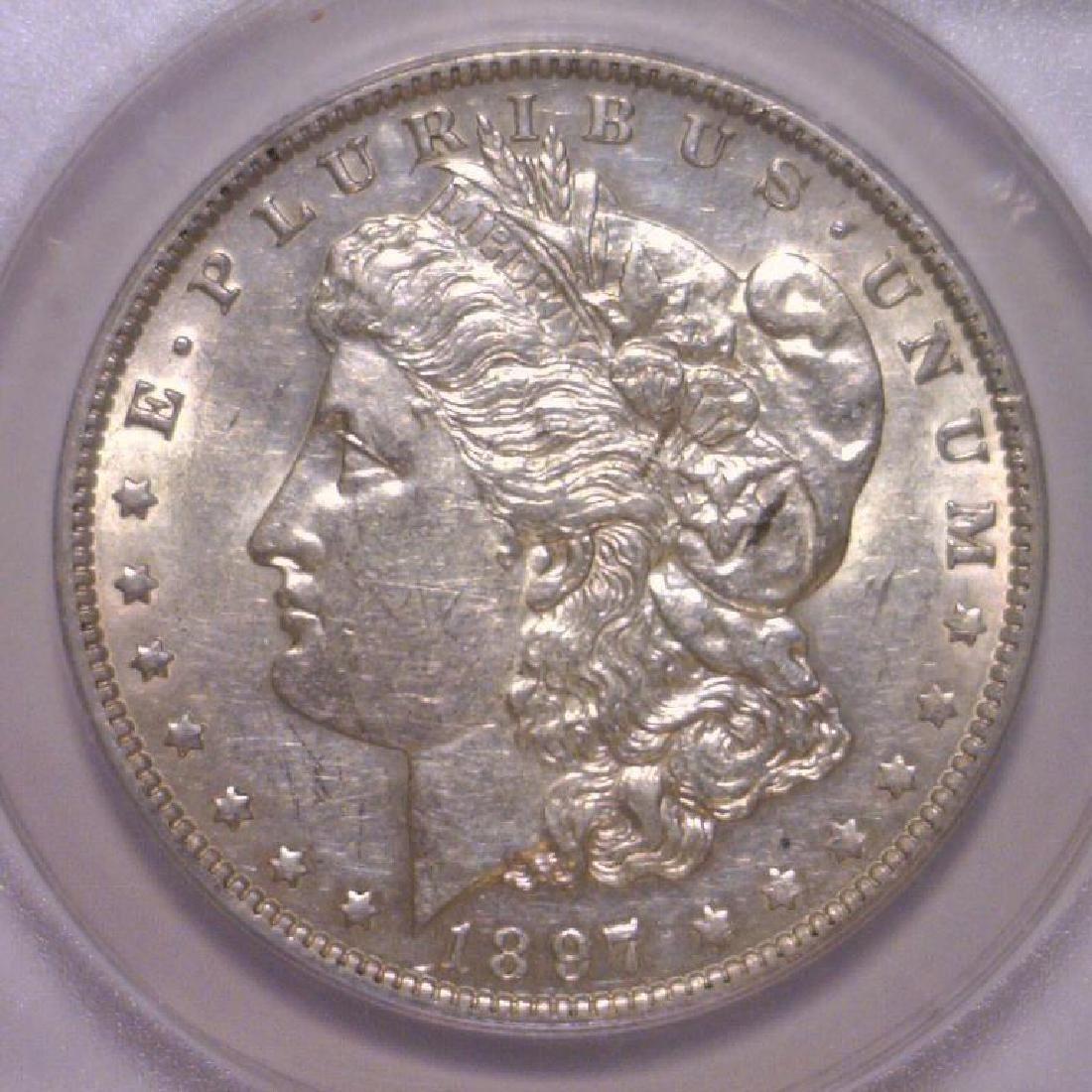 1897-O Morgan Silver Dollar ANACS AU53 Details