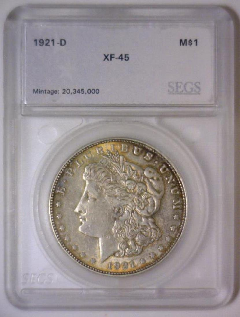 1921-D Morgan Silver Dollar EF Extra Fine XF Color - 3