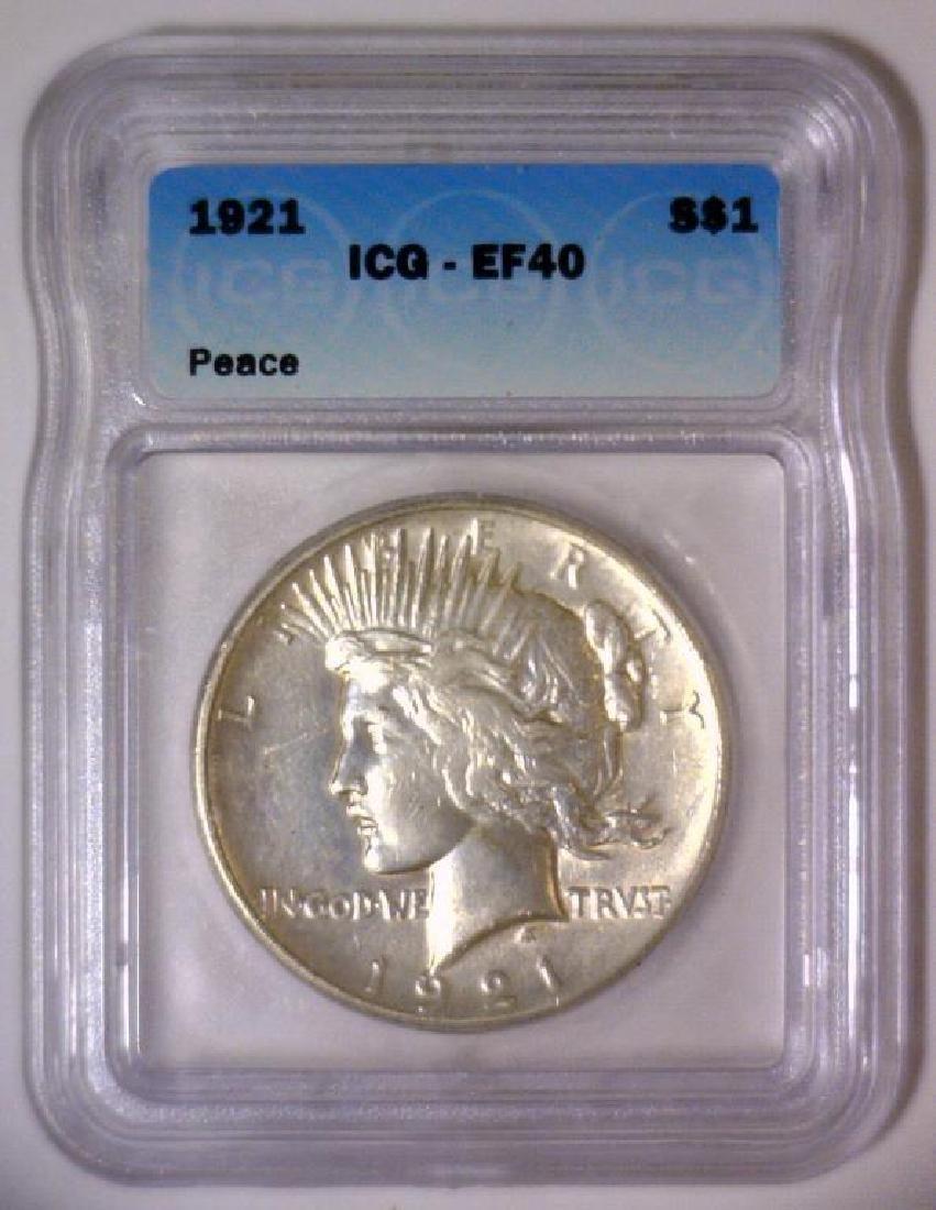 1921 Peace Silver Dollar Extra Fine ICG EF40 - 2