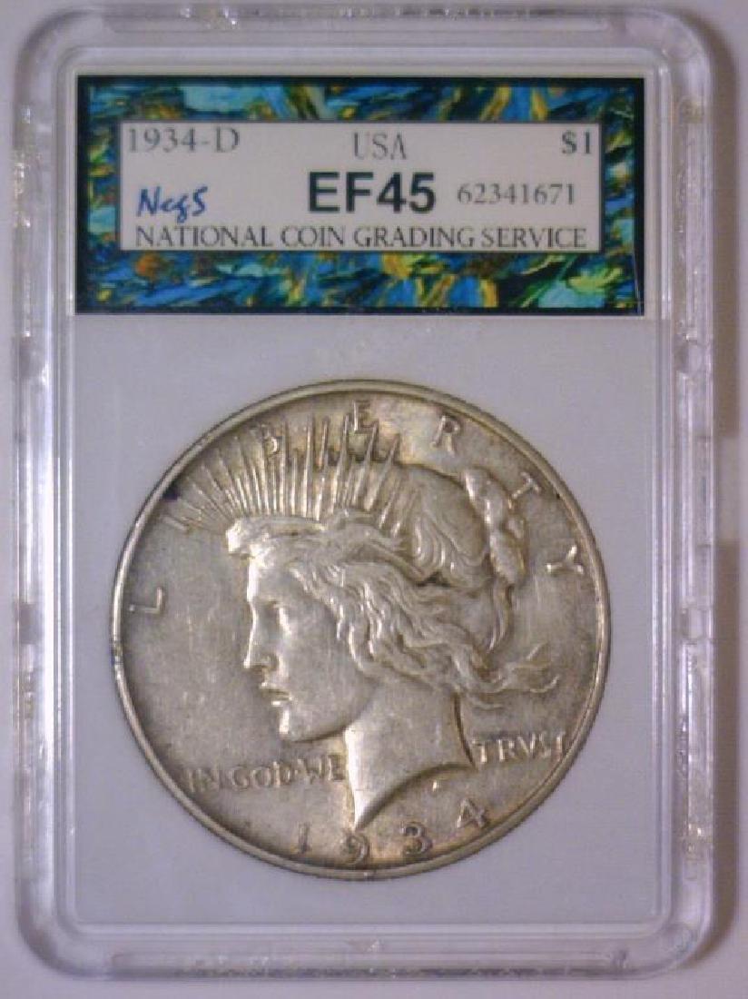 1934-D Peace Silver Dollar EF Extra Fine XF - 3