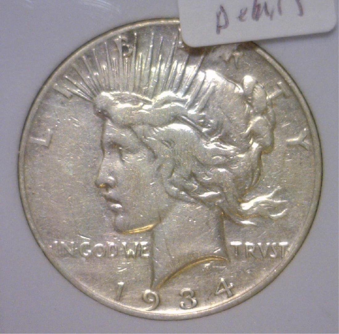 1934-S Peace Silver Dollar Extra Fine Details