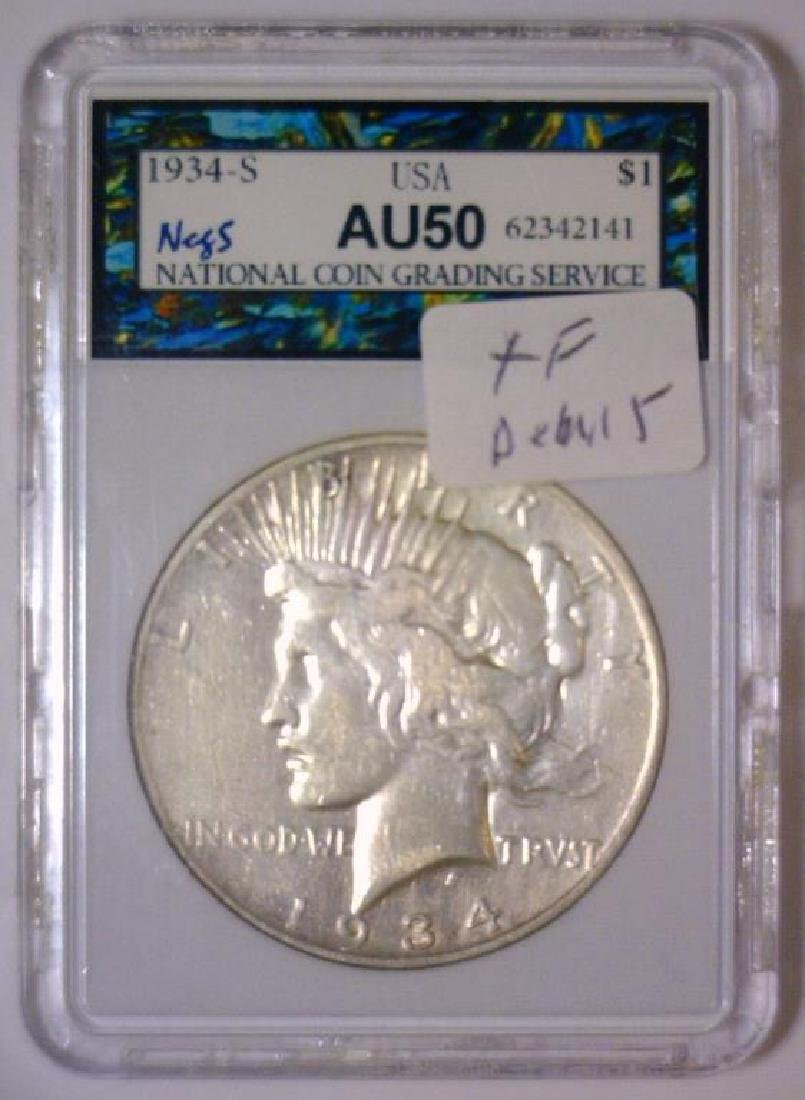 1934-S Peace Silver Dollar Extra Fine Details - 3