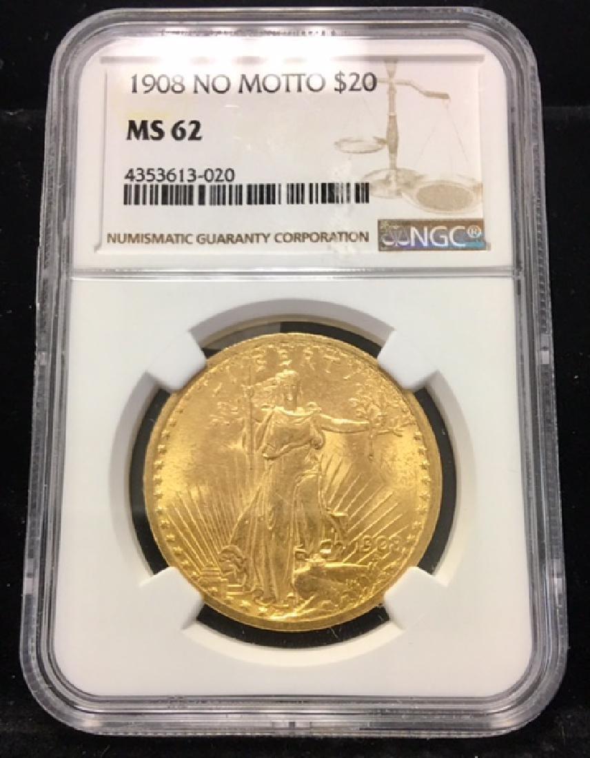 1908 No Motto $20.00 Gold Saint Gaudens NGC MS62