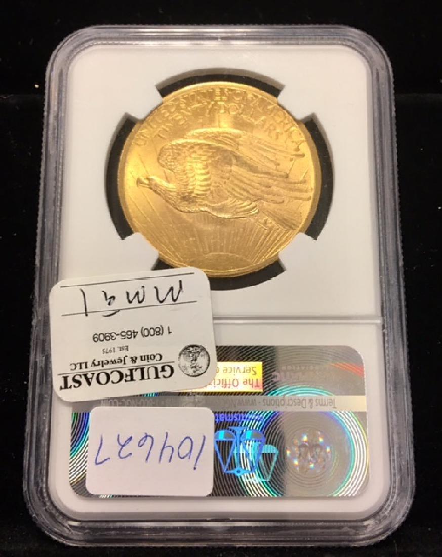 1908 No Motto $20.00 Gold Saint Gaudens NGC MS62 - 2