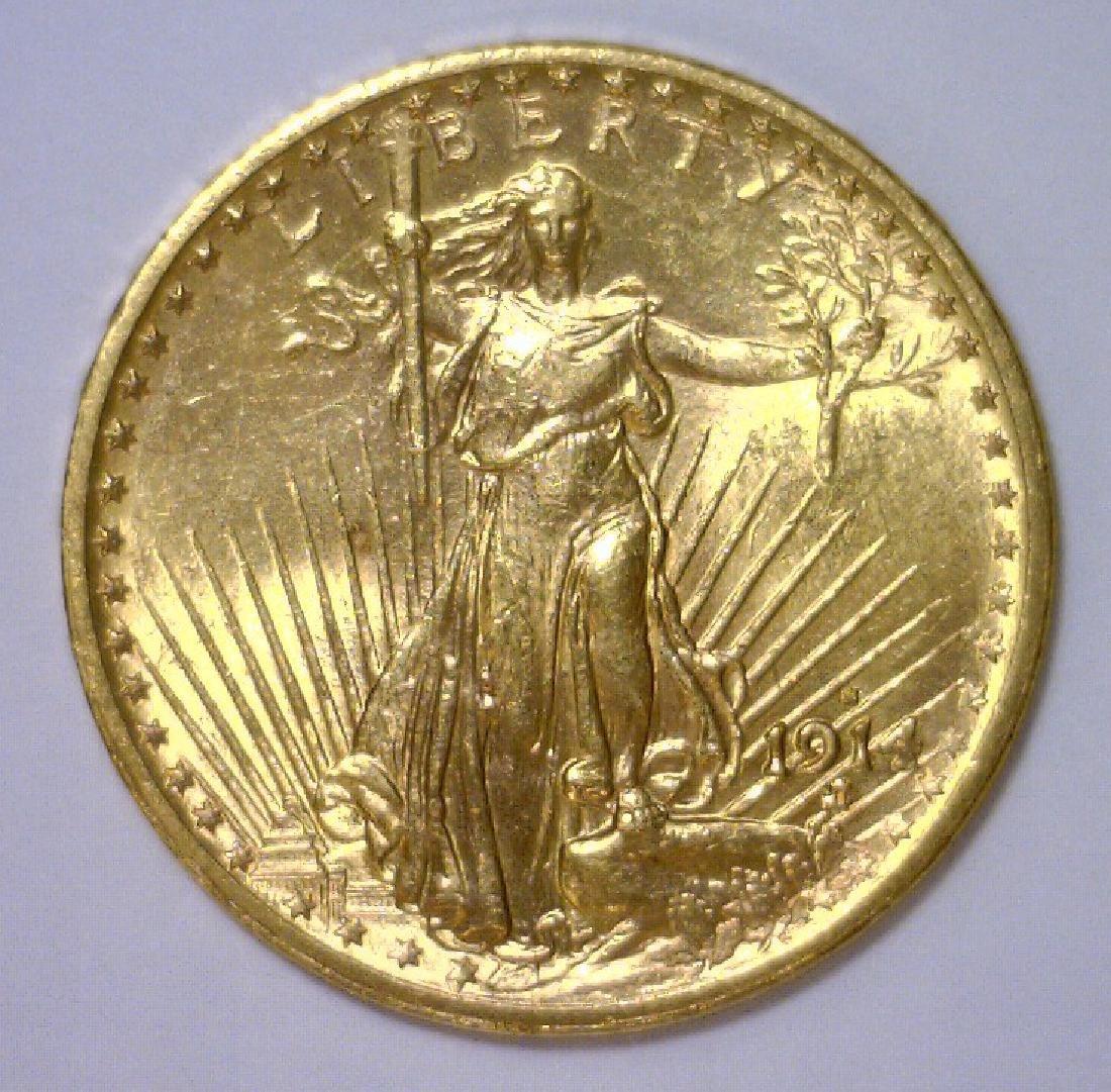 1914-S $20 Saint Gaudens Gold Double Eagle BU