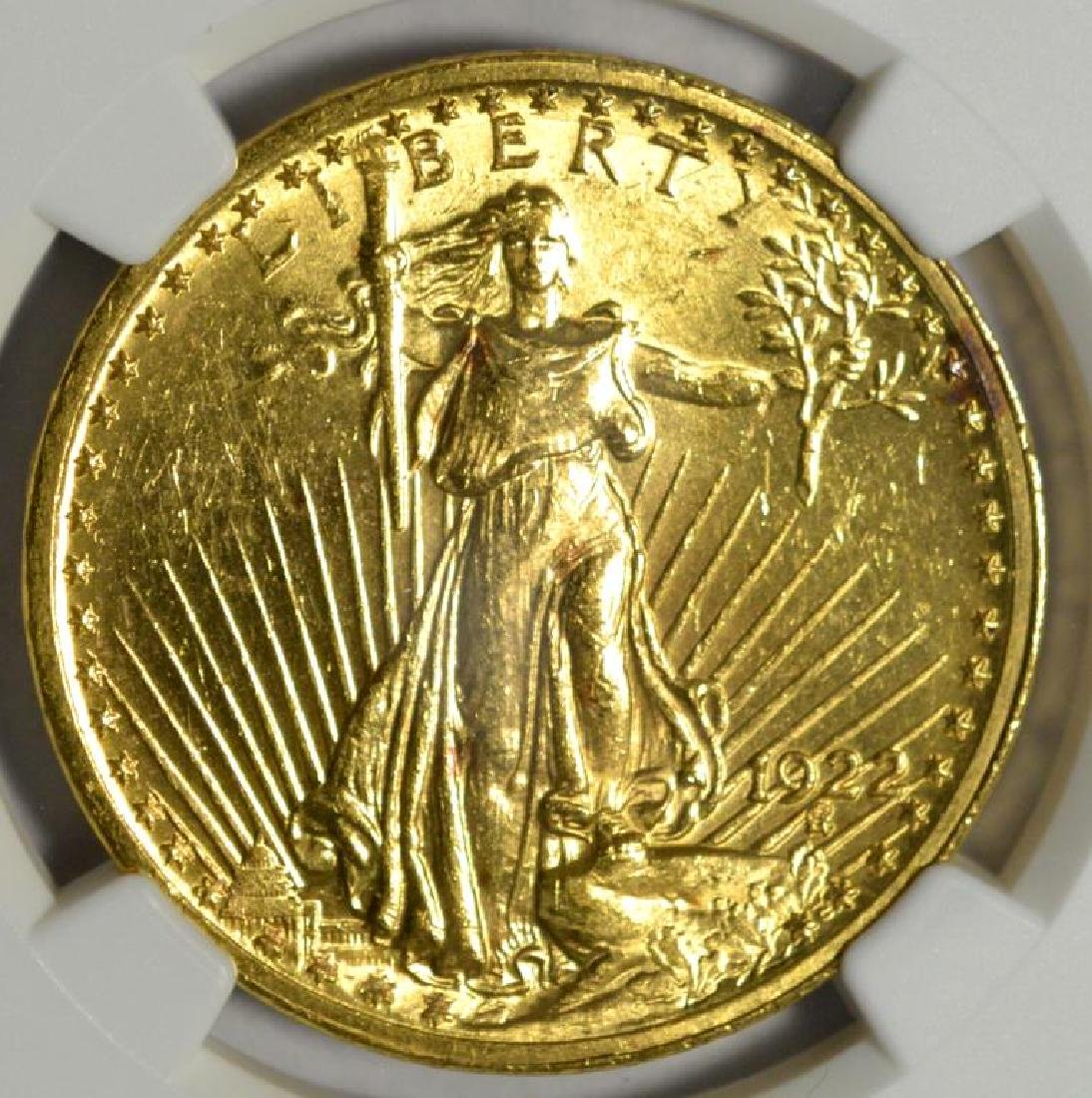 1922 $20 Saint Gaudens Gold Double Eagle NGC MS 62