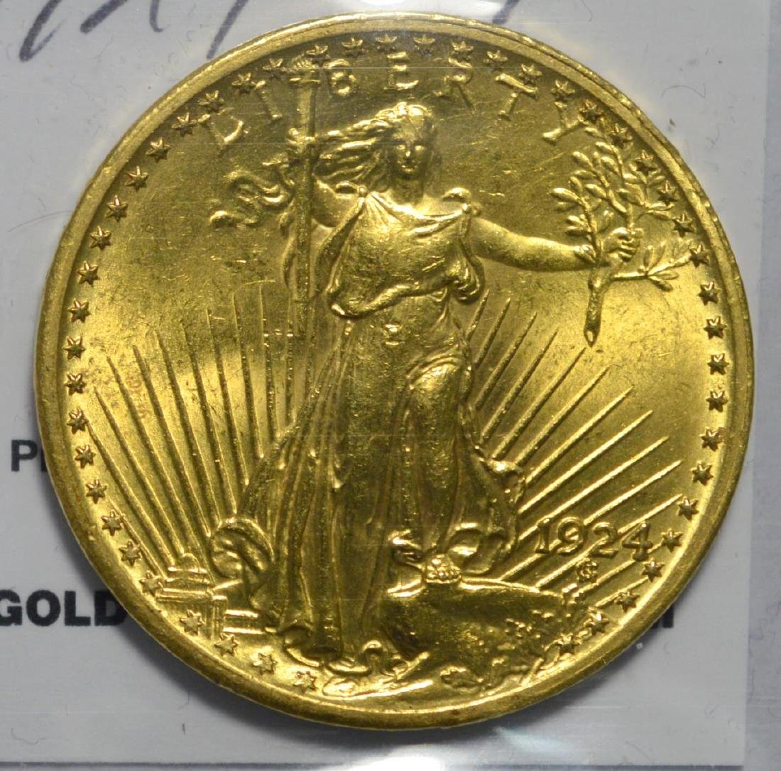 1924 $20 Saint Gaudens Gold Double Eagle XF/AU