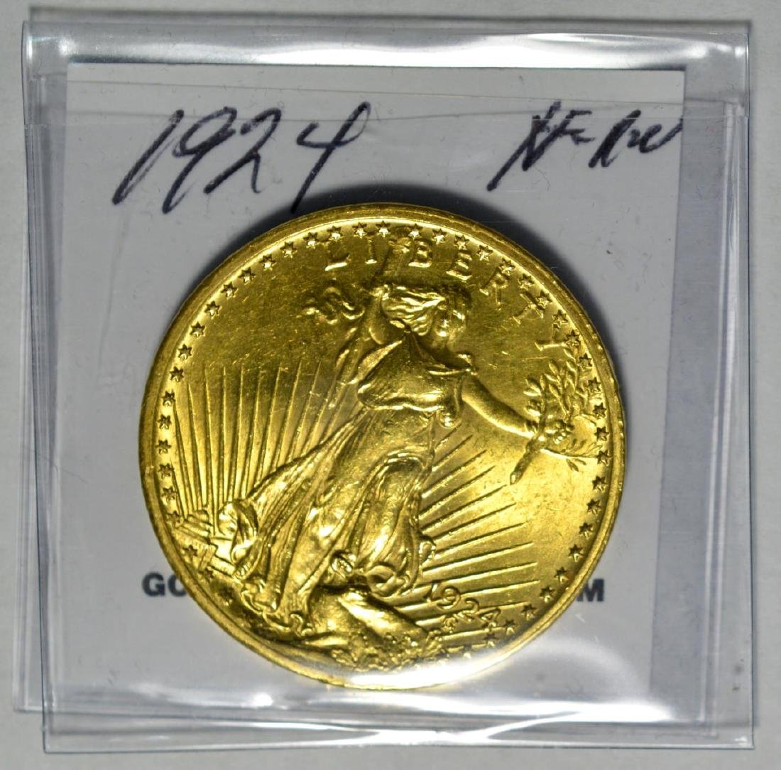 1924 $20 Saint Gaudens Gold Double Eagle XF/AU - 2