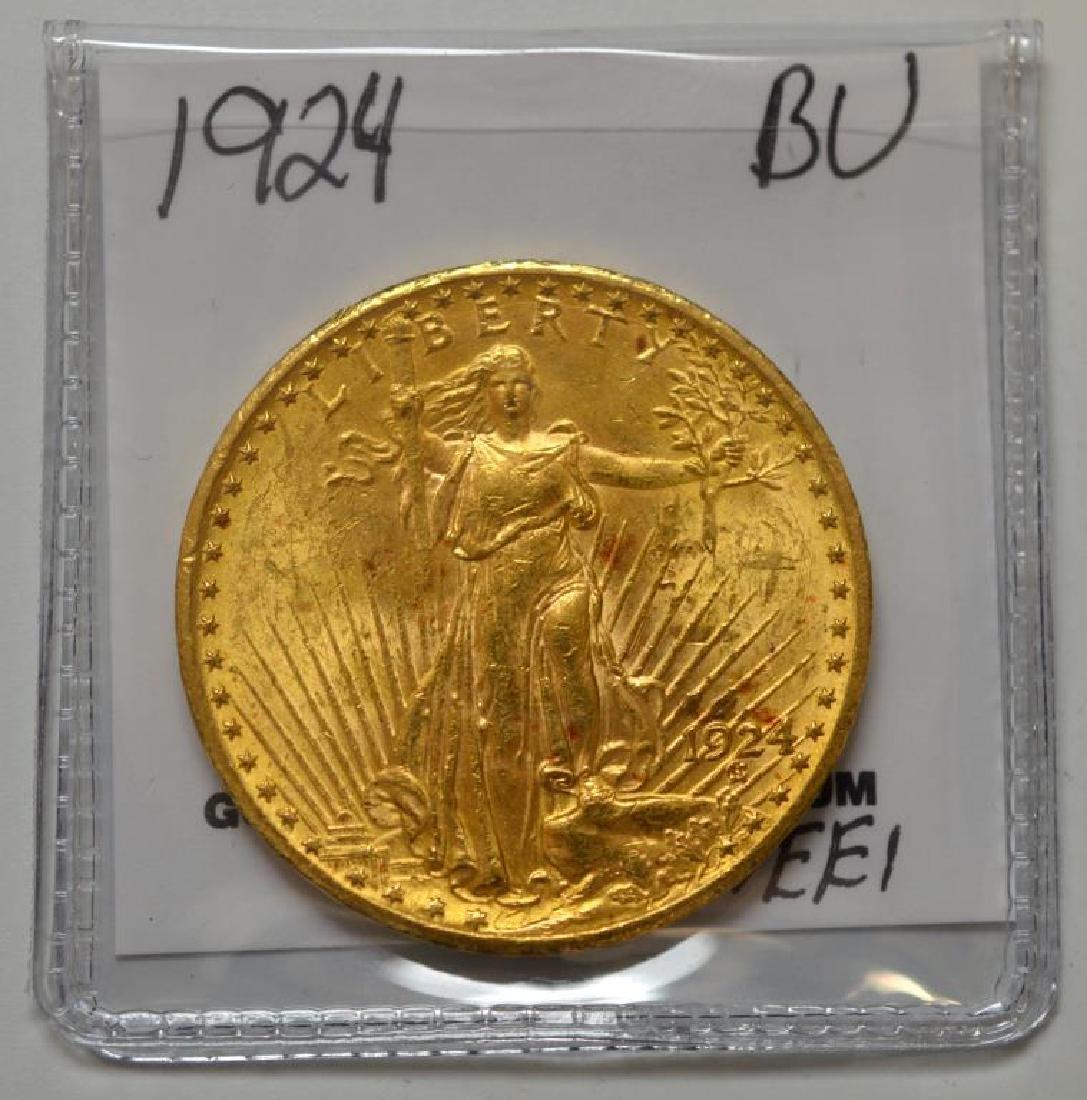 1924 $20 Saint Gaudens Gold Double Eagle BU - 2
