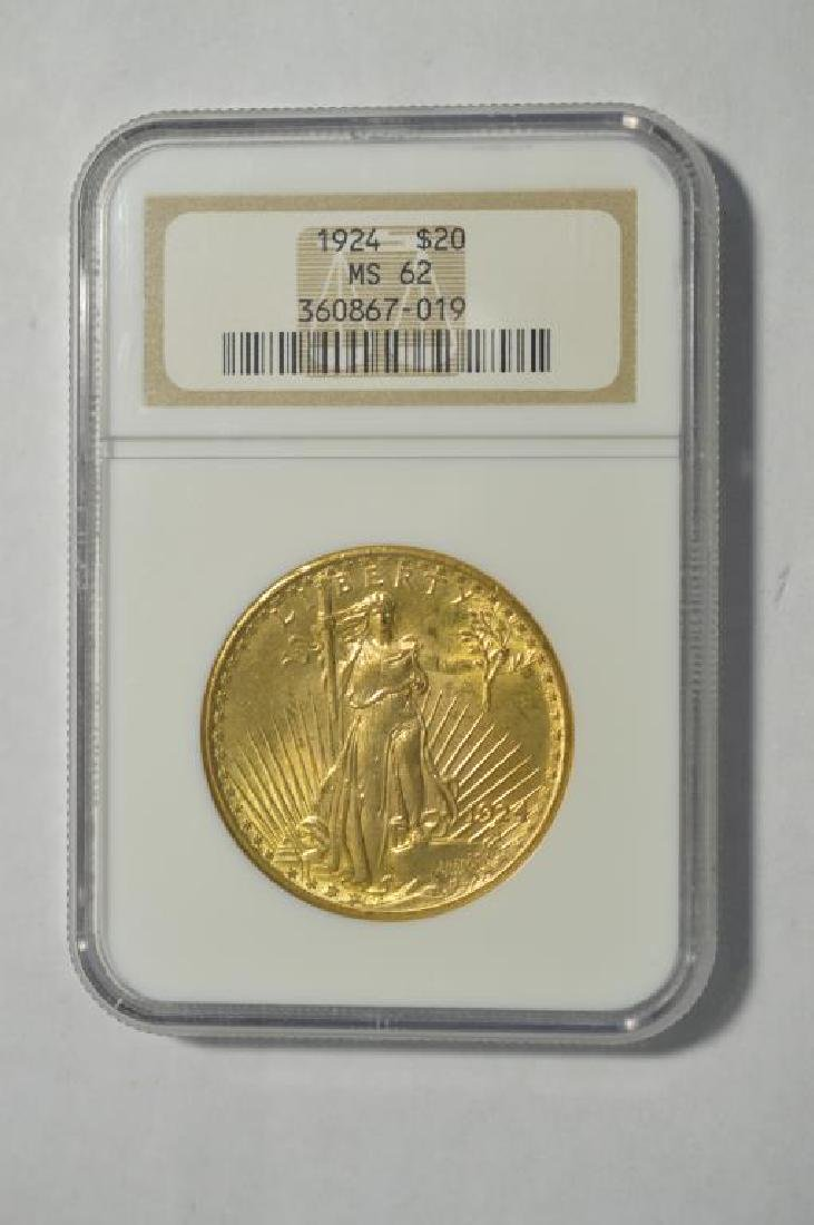 1924 $20 Saint Gaudens Gold Double Eagle NGC MS 62