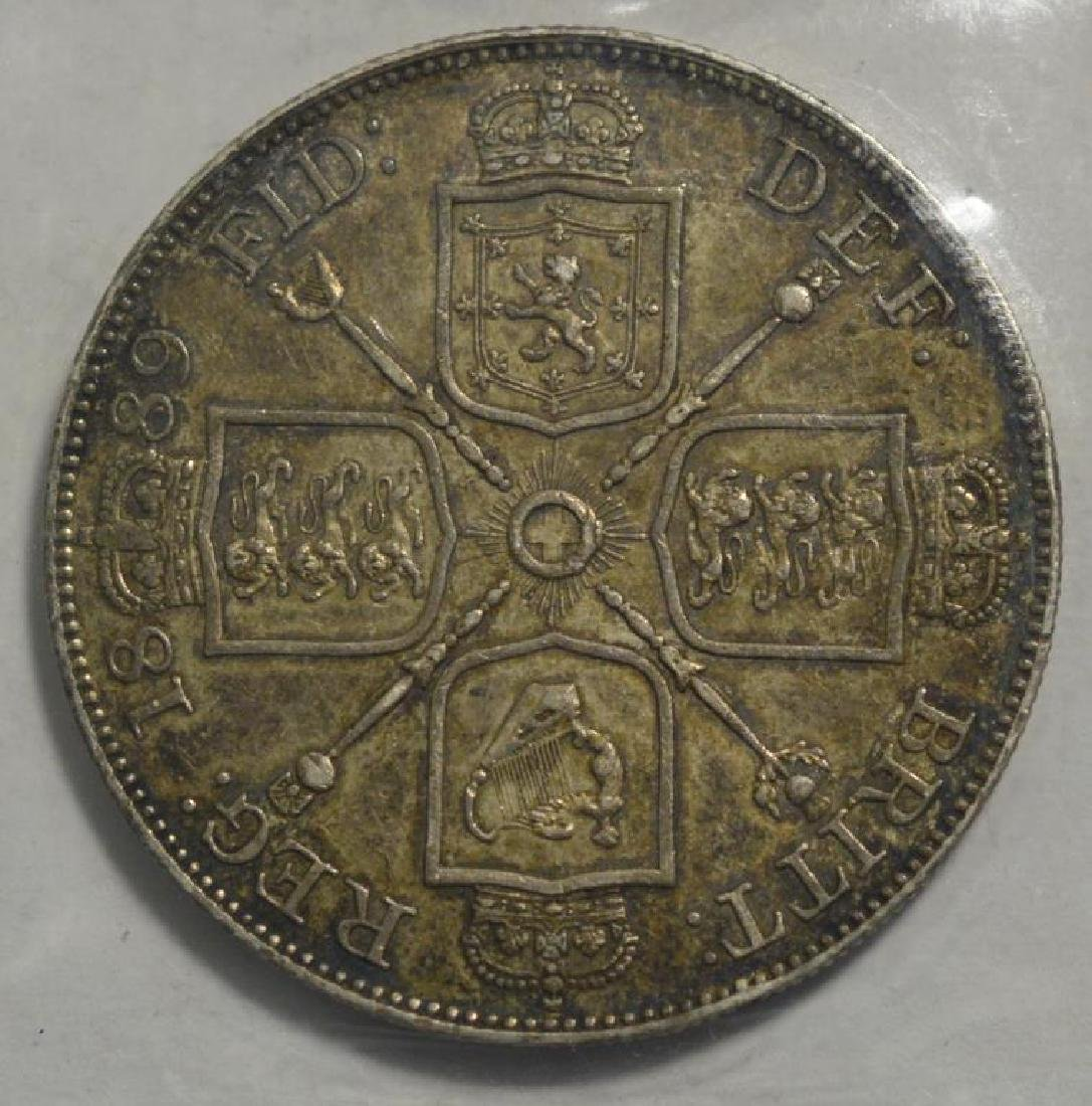 1889 Great Britain Silver Double Florin XF