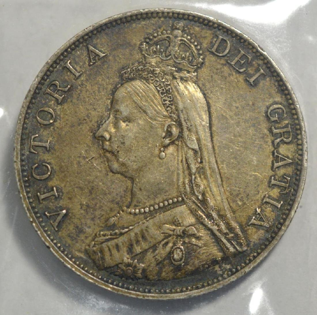 1889 Great Britain Silver Double Florin XF - 2