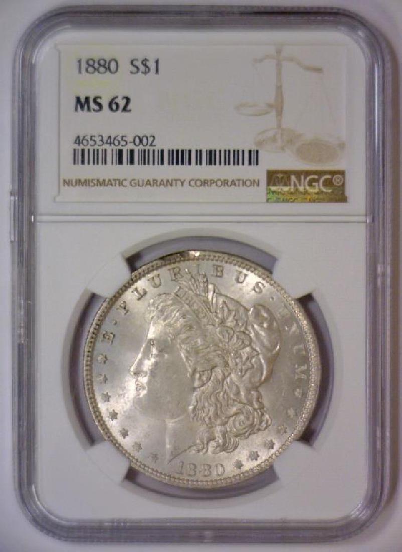 1880 Morgan Silver Dollar NGC MS62 - 2