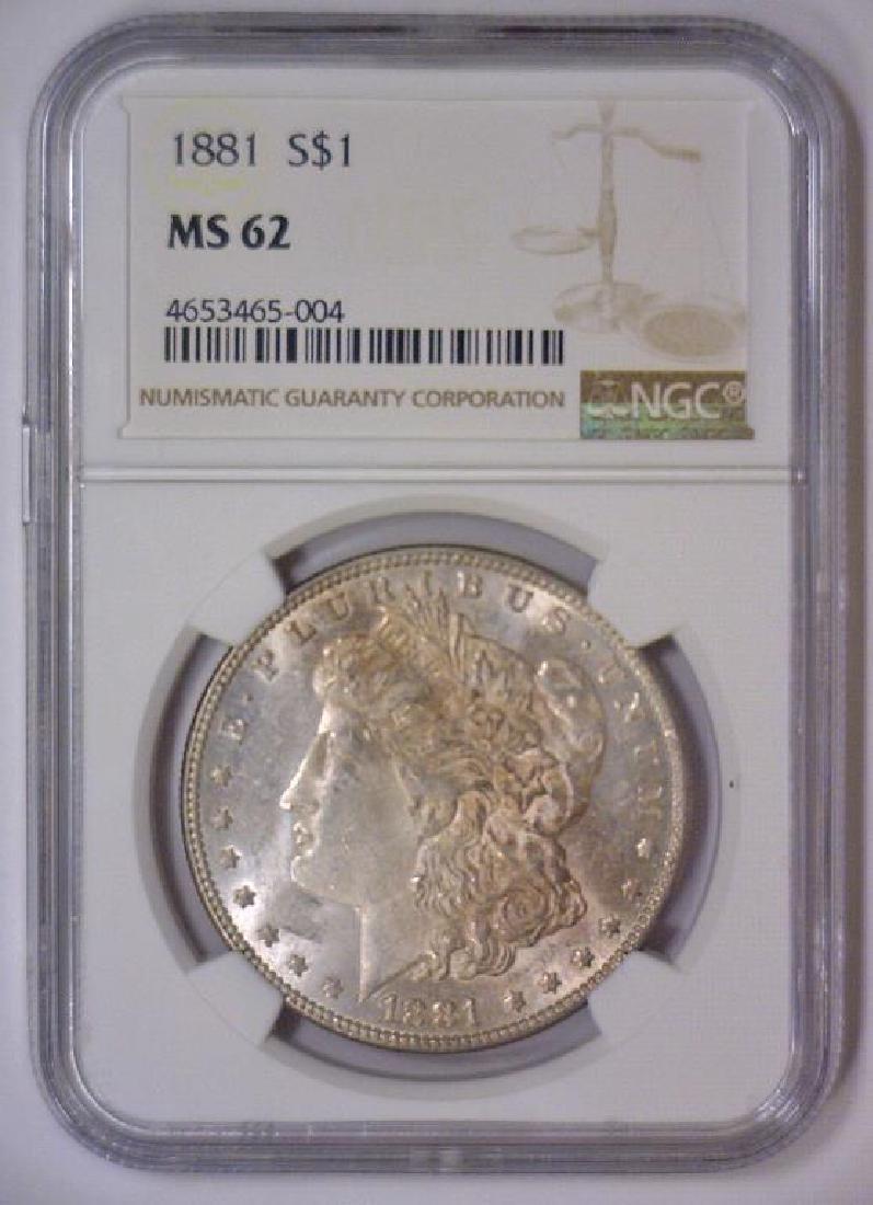 1881 Morgan Silver Dollar NGC MS62 - 2