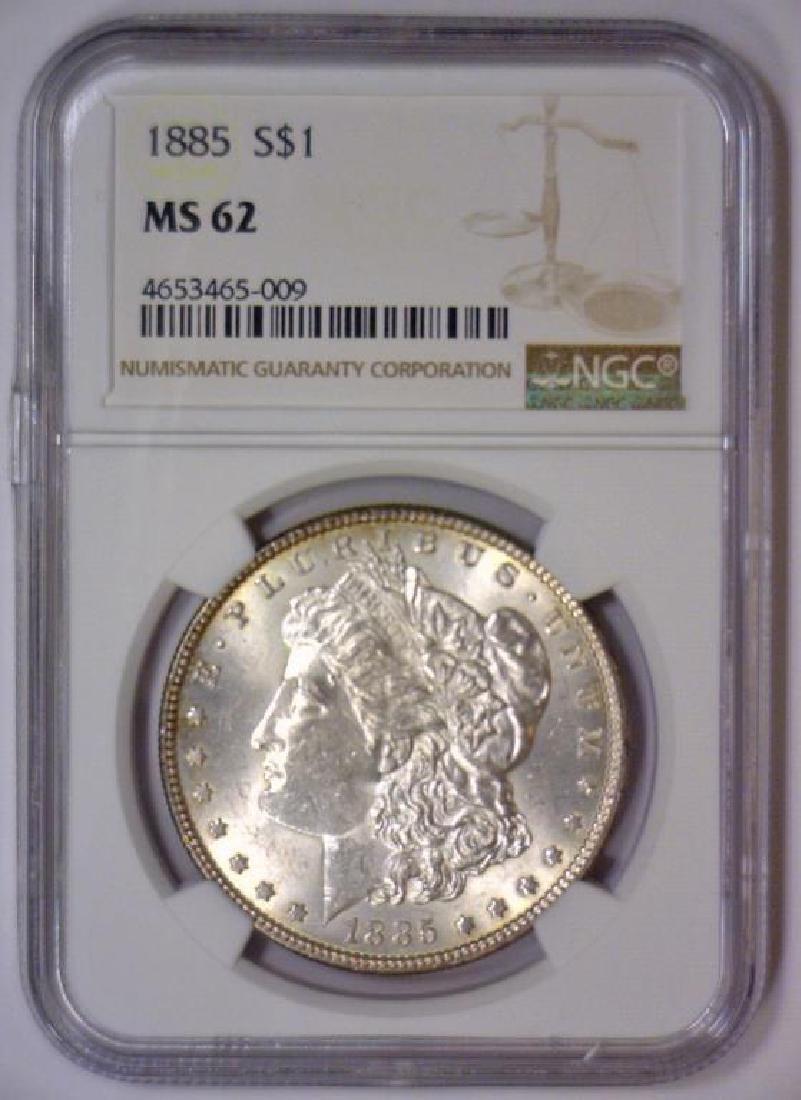 1885 Morgan Silver Dollar NGC MS62 - 2