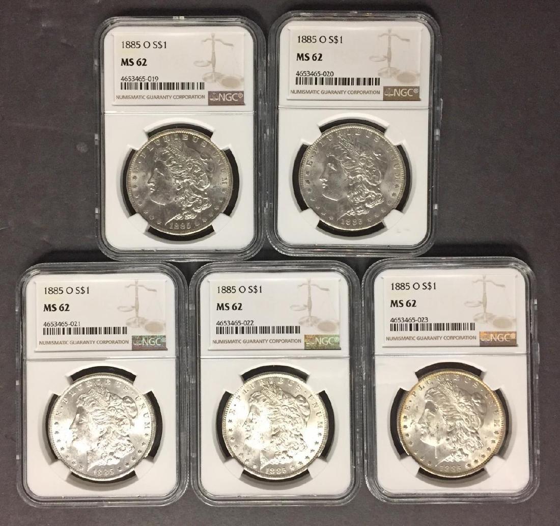 Investor Lot of 5 1885-O Morgan Silver $1 NGC MS62