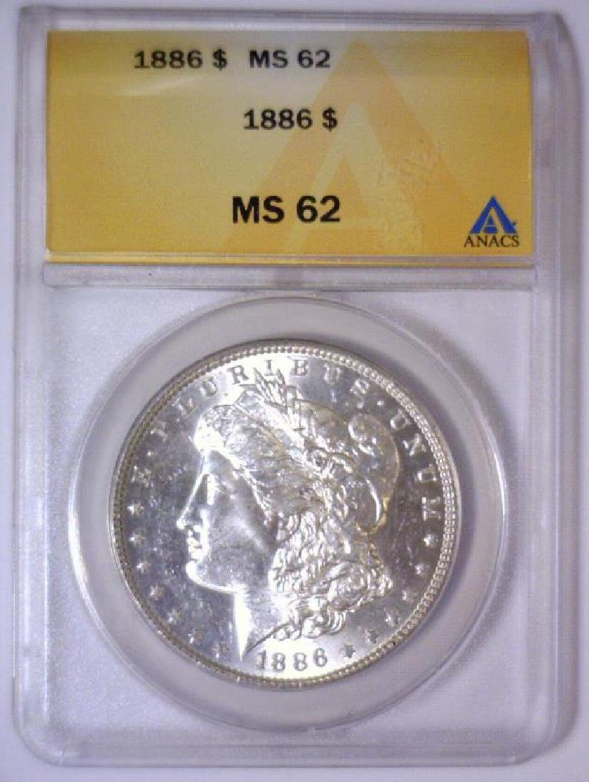 1886 Morgan Silver $1 Rainbow Reverse ANACS MS62 - 2