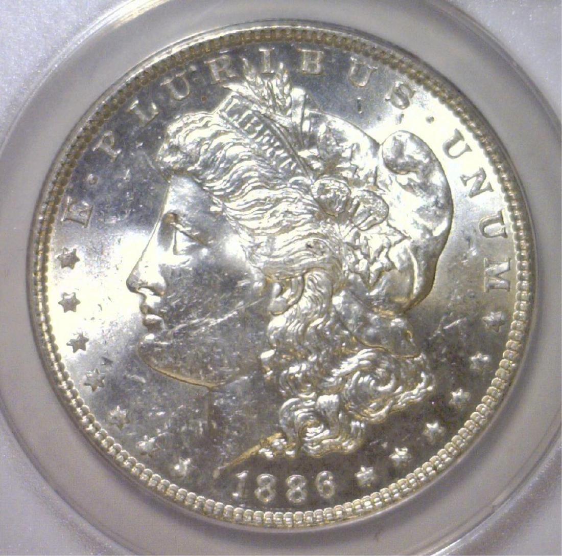 1886 Morgan Silver $1 Rainbow Reverse ANACS MS62 - 3