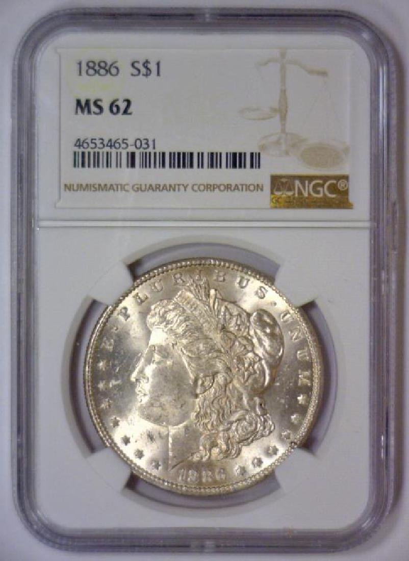 1886 Morgan Silver Dollar NGC MS62 - 2