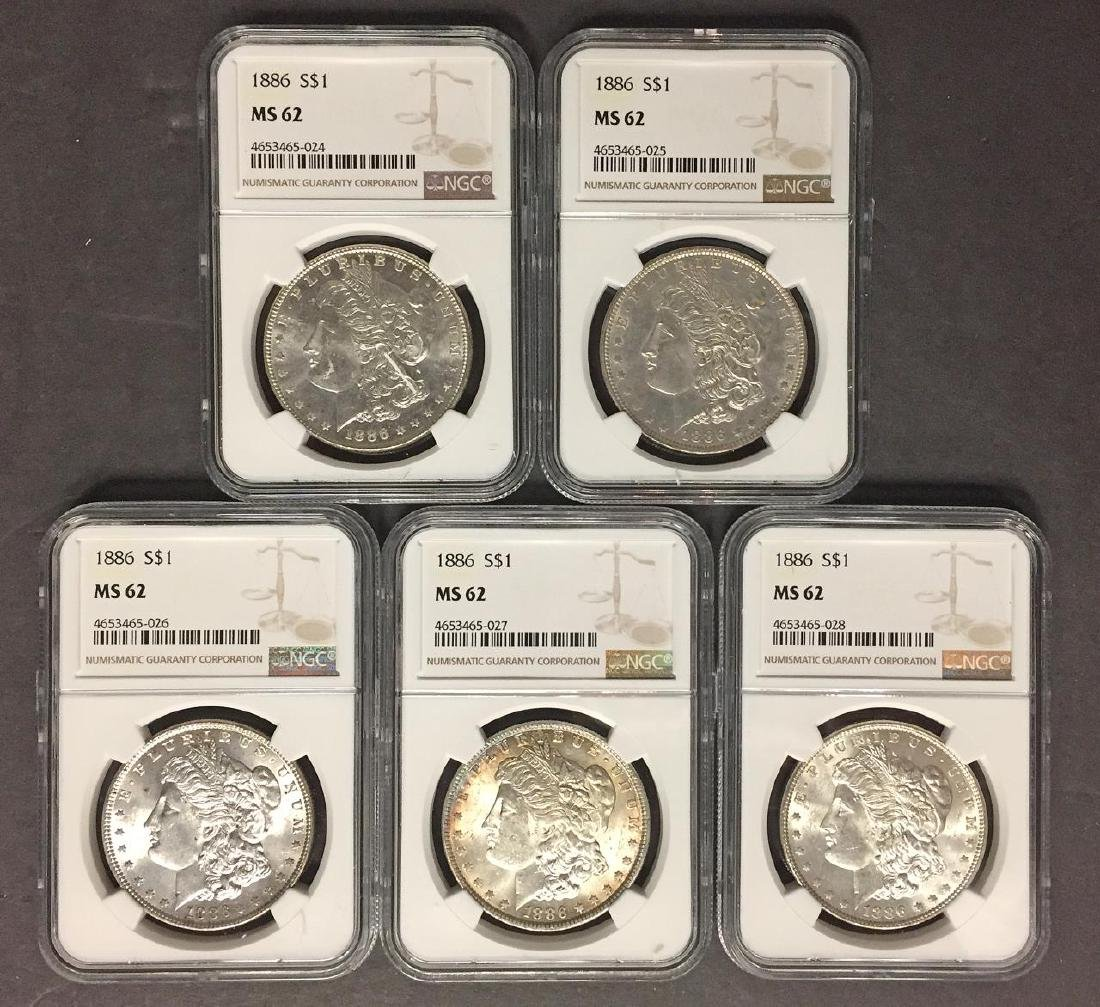 Investor Lot of 5 1886 Morgan Silver $1 NGC MS62