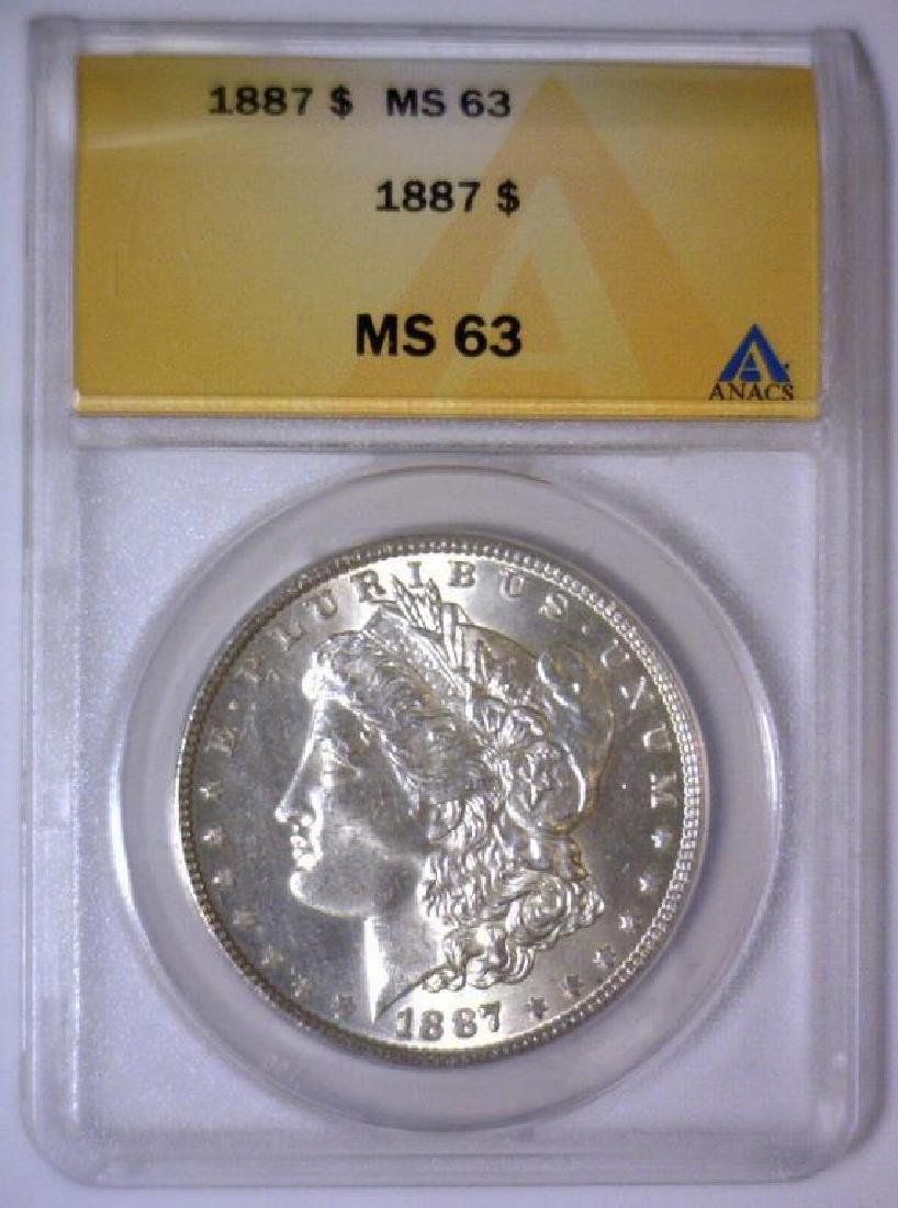 1887 Morgan Silver Dollar ANACS MS63 - 2