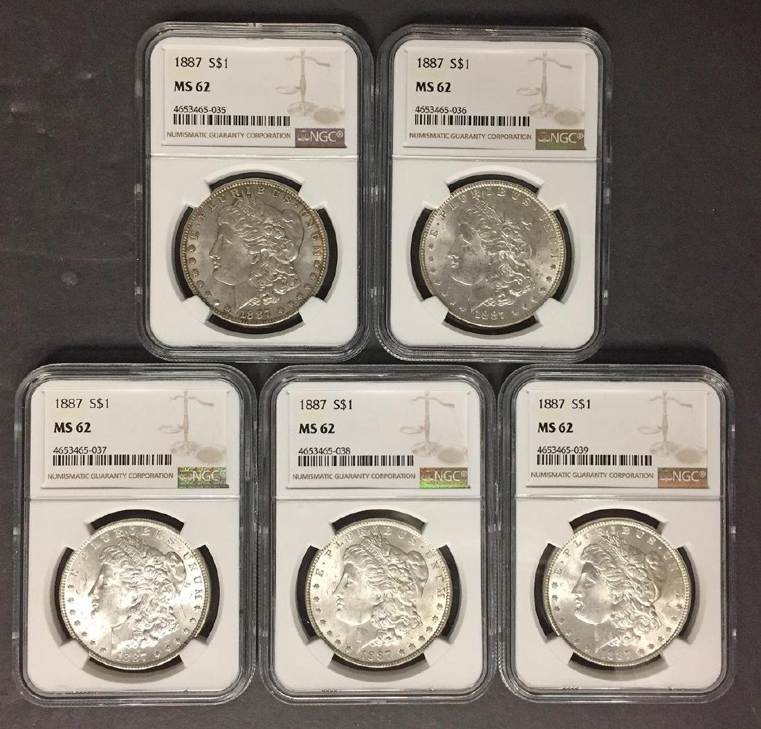 Investor Lot of 5 1887 Morgan Silver $1 NGC MS62