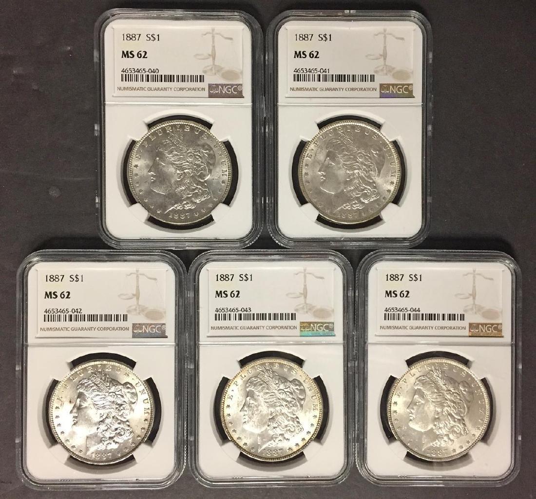 Investor Lot of 5 1887 Morgan Silver $1 NGC MS62
