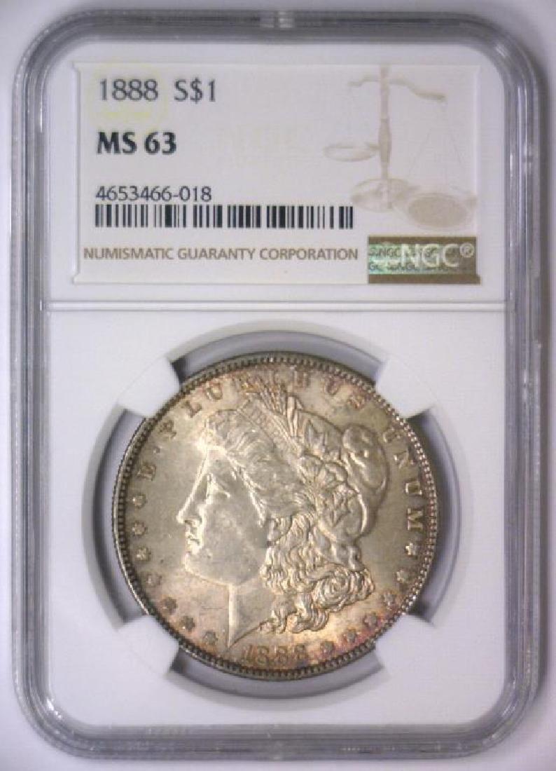 1888 Morgan Silver Dollar NGC MS63 - 2