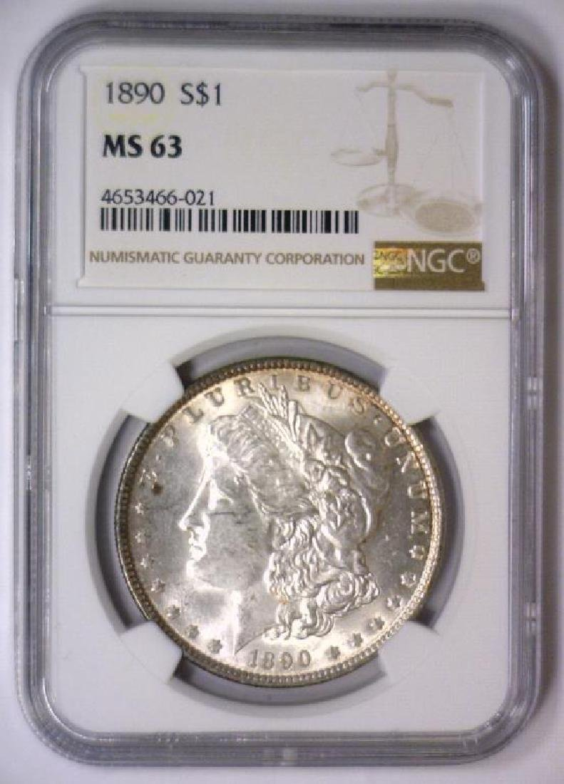 1890 Morgan Silver Dollar NGC MS63 - 2