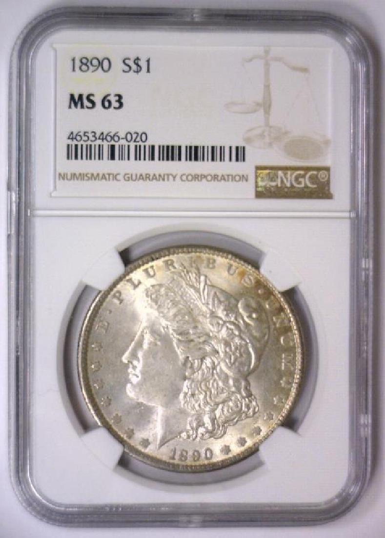 1890 Morgan Silver Dollar NGC MS63 - 2