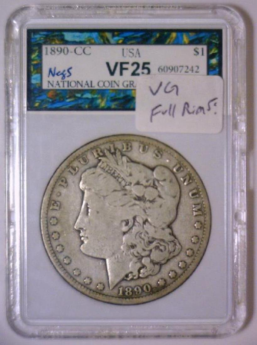 1890-CC Morgan Silver Dollar Very Good VG - 3