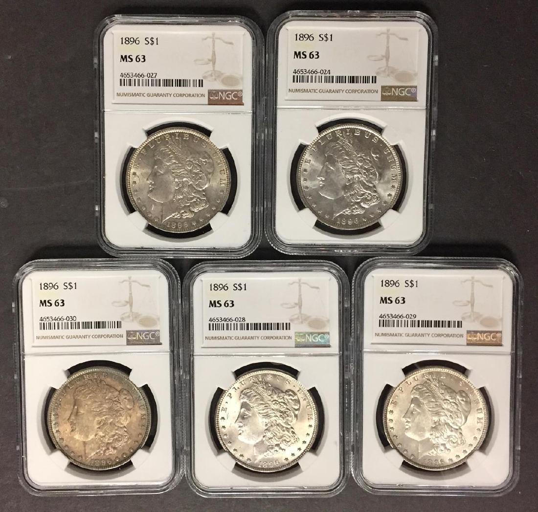 Investor Lot of 5 1896 Morgan Silver $1 NGC MS63