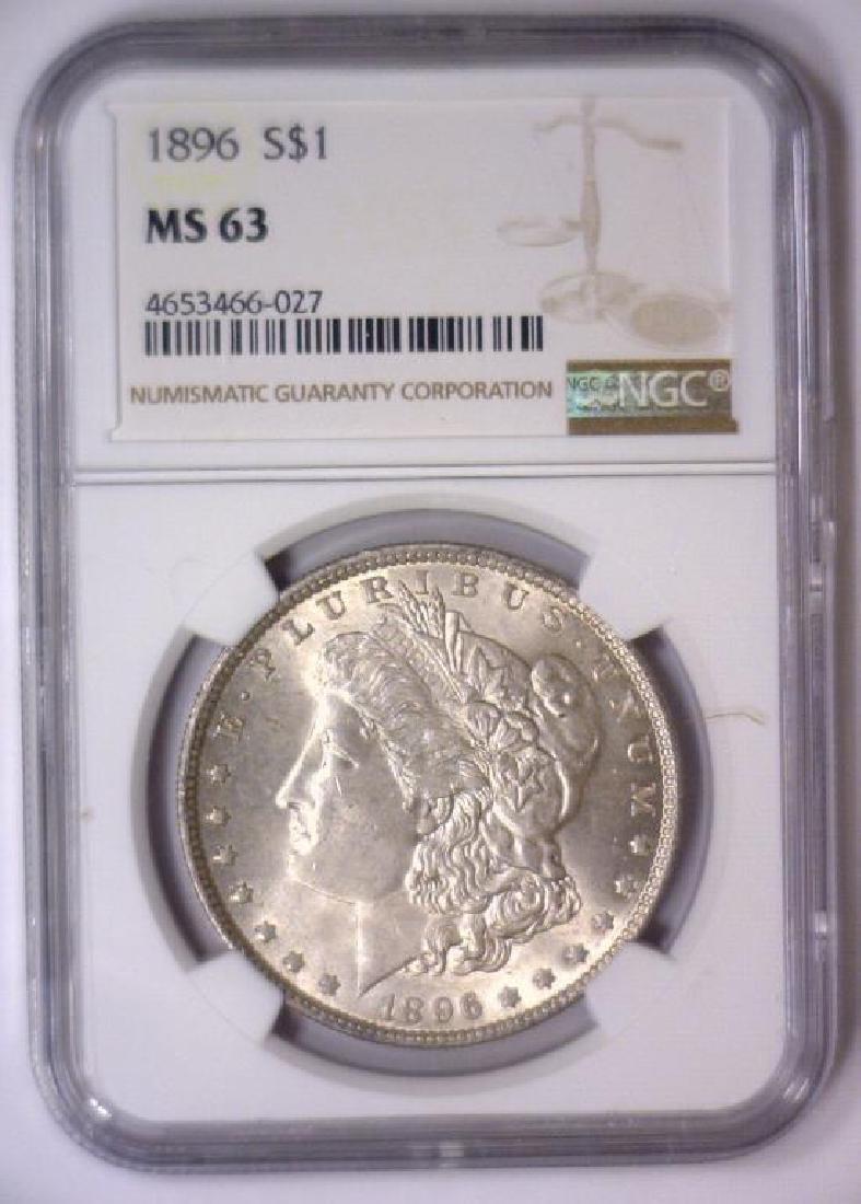 Investor Lot of 5 1896 Morgan Silver $1 NGC MS63 - 2
