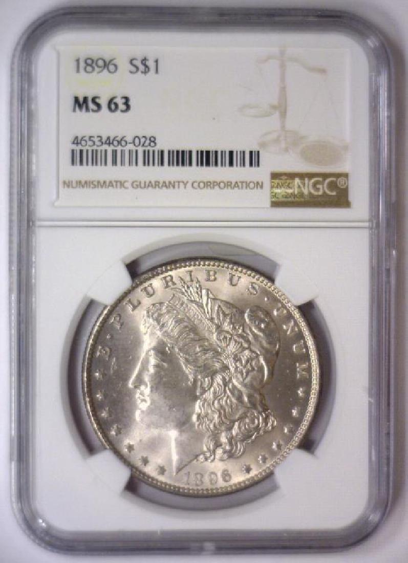 Investor Lot of 5 1896 Morgan Silver $1 NGC MS63 - 8