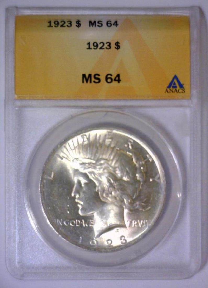 1923 Peace Silver Dollar ANACS MS64 - 2