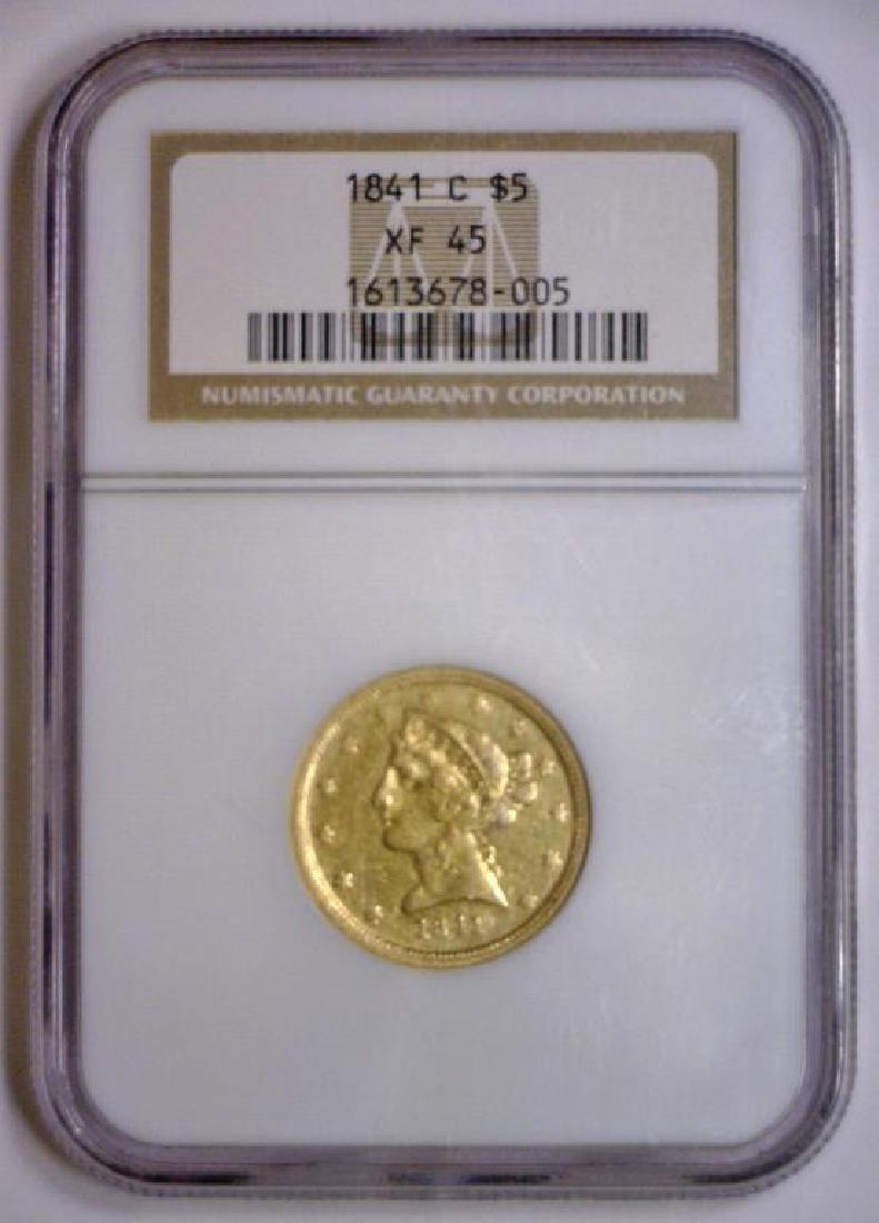 1841-C $5 Liberty Gold Half Eagle Scarce NGC XF45 - 2