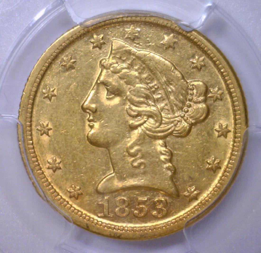 1853-D $5 Liberty Gold Half Eagle Scarce PCGS AU53