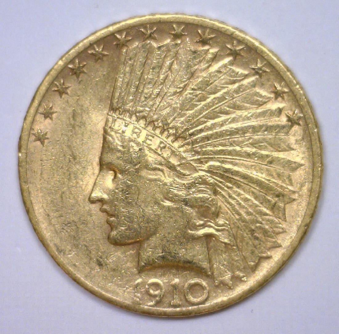1910-S $10 Indian Gold Eagle Extra Fine XF45