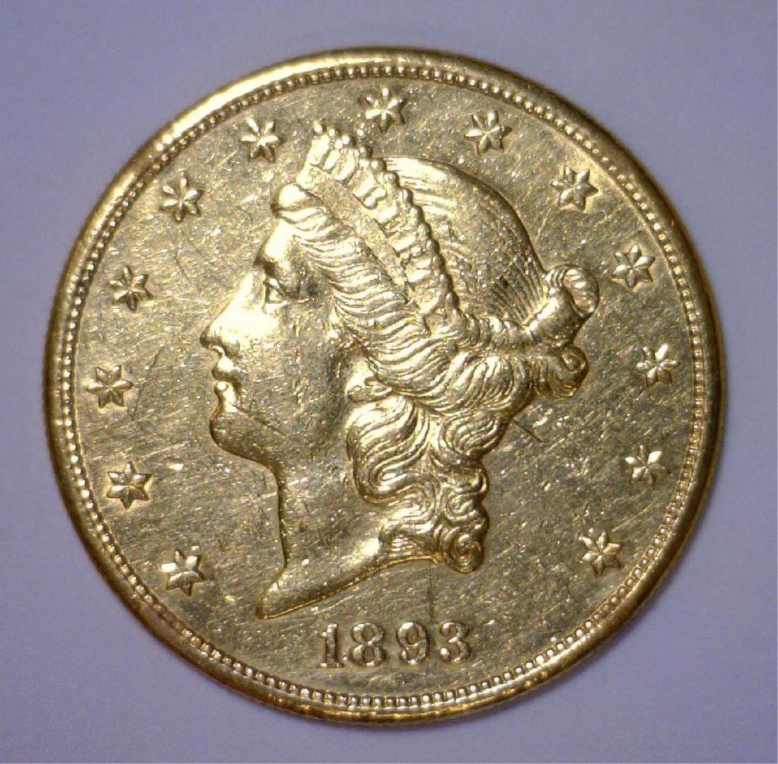 1893-S $20 Liberty Head Gold Circulated Polished