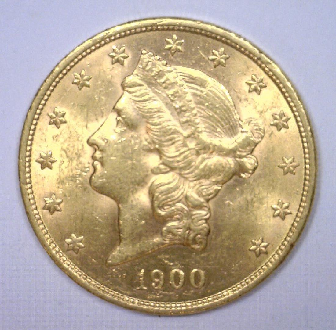 1900 $20 Liberty Gold Double Eagle BU MS62