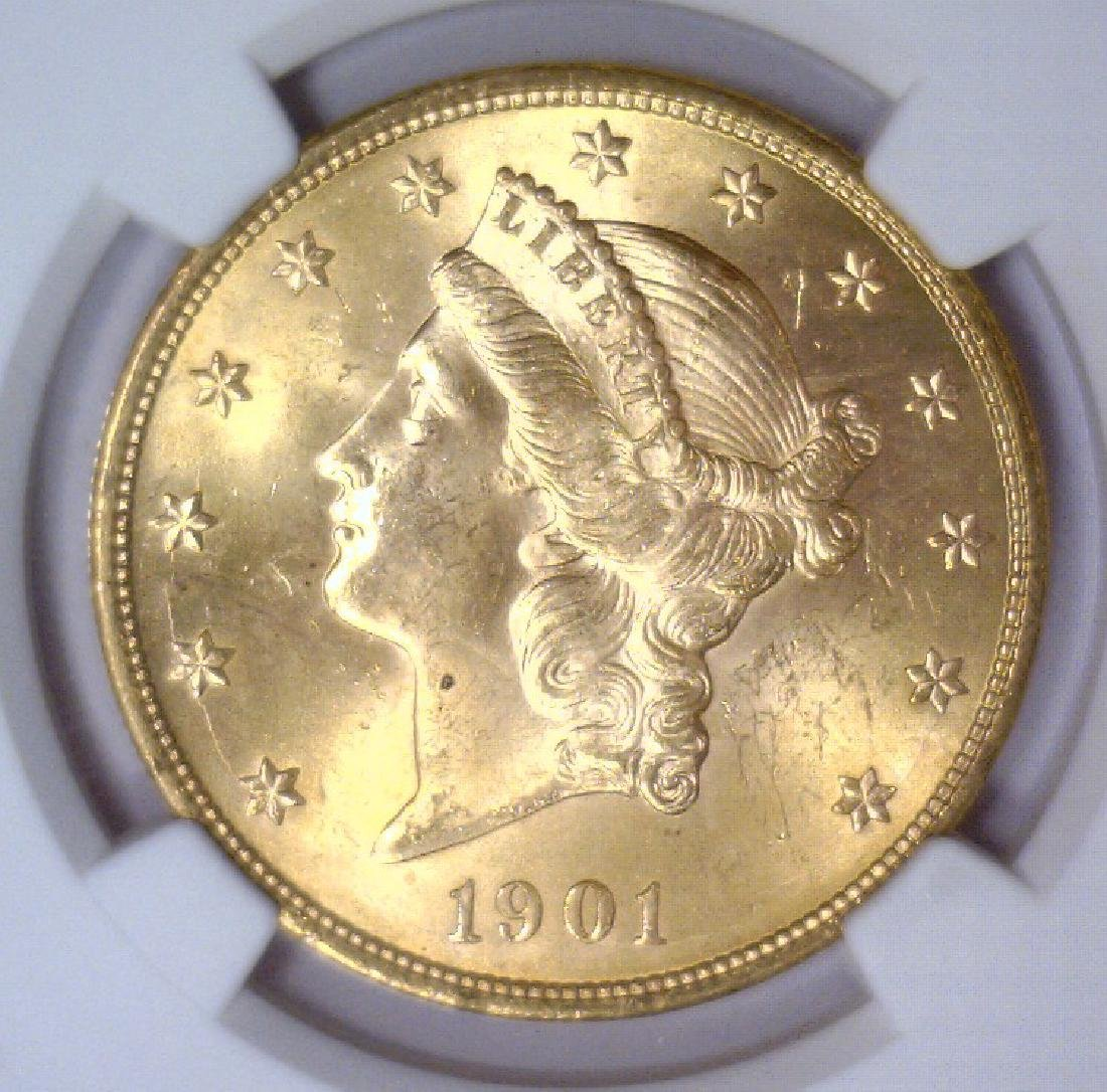 1901 $20 Liberty Double Eagle Gold NGC MS63