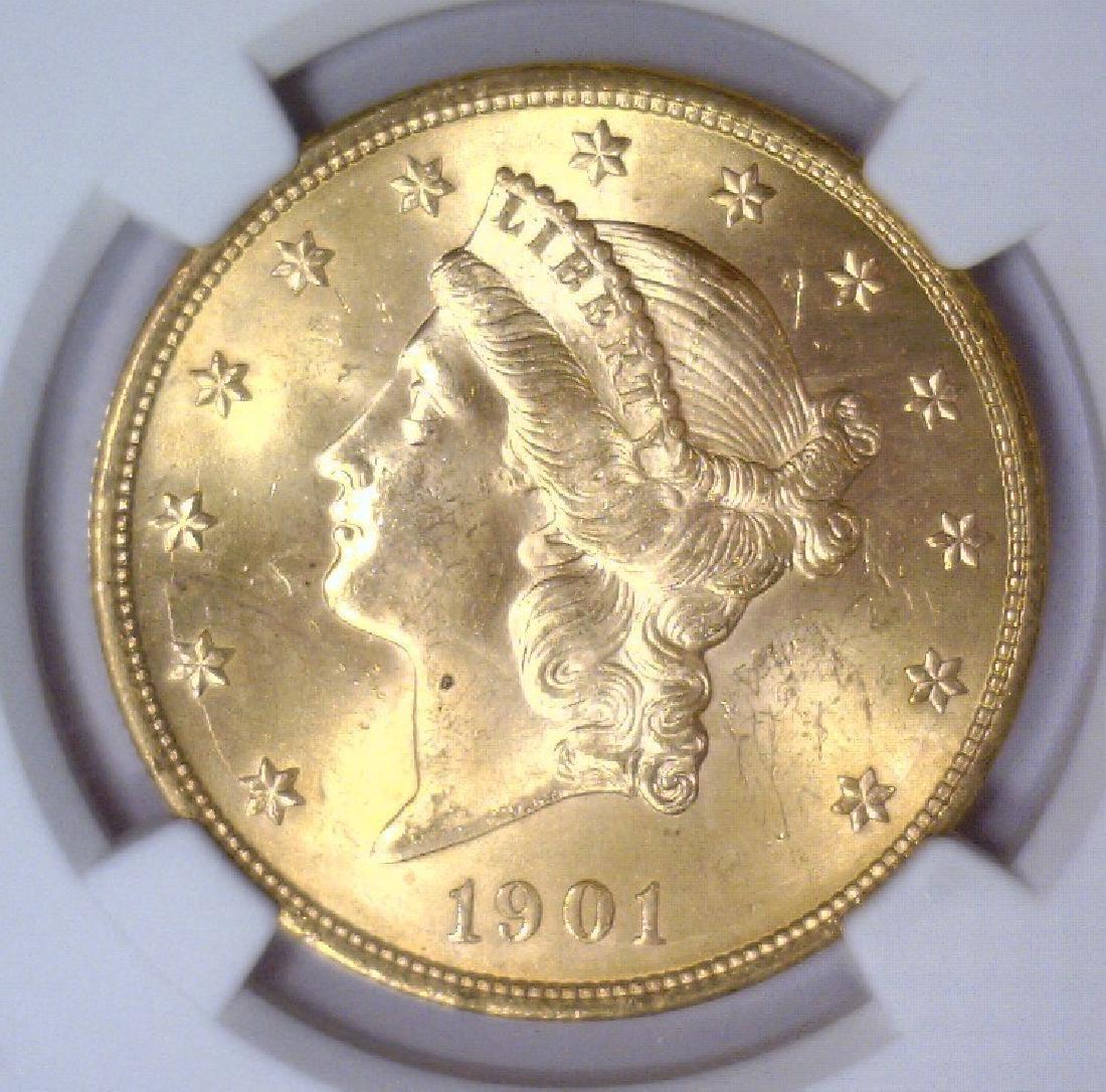 1901 $20 Liberty Double Eagle Gold NGC MS63